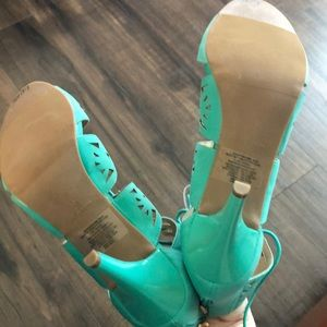 Avon Shoes - Avon Teal Lace Up Caged Heels